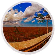 4x1 Everglades Panorama Number Two Round Beach Towel