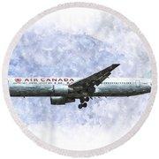 Air Canada Boeing 777 Art Round Beach Towel
