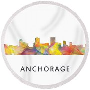 Anchorage Alaska Skyline Round Beach Towel