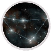 Artists Depiction Of The Constellation Round Beach Towel