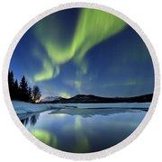 Aurora Borealis Over Sandvannet Lake Round Beach Towel