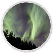 Aurora Borealis Over Trees, Yukon Round Beach Towel
