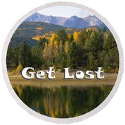 Autumn Aspen At Crystal Creek Reservoir Pikes Peak Round Beach Towel
