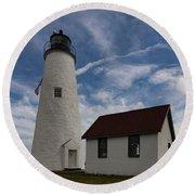 Bakers Island Lighthouse Salem Round Beach Towel