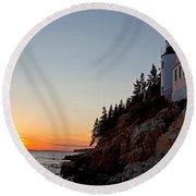 Bass Harbor Head Lighthouse Acadia National Park Round Beach Towel