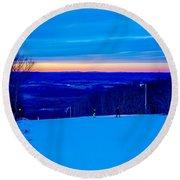 Beautiful Winter Landscape At Timberline West Virginia Round Beach Towel