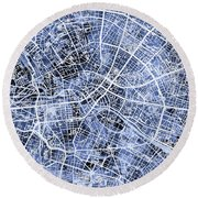 Berlin Germany City Map Round Beach Towel
