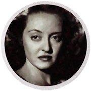 Bette Davis Vintage Hollywood Actress Round Beach Towel