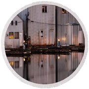 Boathouse Reflections  Round Beach Towel