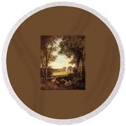 Boddington Henry John A View Of Norton Hall Henry John Boddington Round Beach Towel