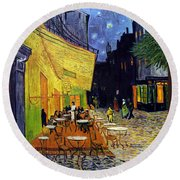 Cafe Terrace At Night Round Beach Towel