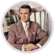 Cary Grant, Vintage Actor Round Beach Towel