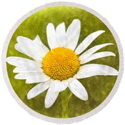 Chamomile Watercolor Round Beach Towel