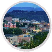Downtown Morgantown And West Virginia University Round Beach Towel