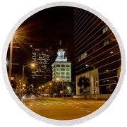 Downtown Tampa Florida Skyline At Night Round Beach Towel