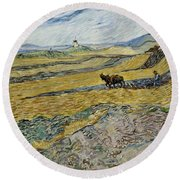 Enclosed Field With Ploughman Round Beach Towel