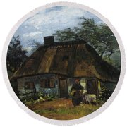 Farmhouse In Nuenen Round Beach Towel
