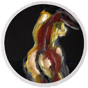 Fat Nude Woman  Round Beach Towel