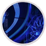 Ferris Wheel In Motion Round Beach Towel
