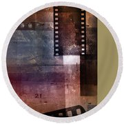 Film Strips 3 Round Beach Towel