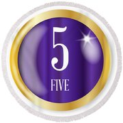 5 For Five Round Beach Towel