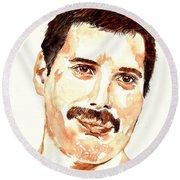Freddie Mercury Portrait Round Beach Towel