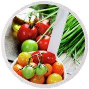 Fresh Tomatoes Round Beach Towel