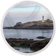 Godrevy Lighthouse - England Round Beach Towel