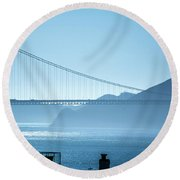 Golden Gate Bridge In Its Beauty At Sunset Round Beach Towel