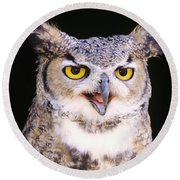 Great Horned Owl Round Beach Towel