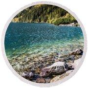 Green Water Mountain Lake Morskie Oko, Tatra Mountains, Poland Round Beach Towel