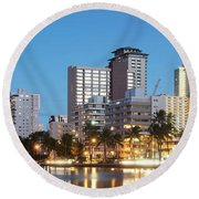 Honolulu Skyline Panorama Round Beach Towel