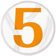 5 In Tangerine Typewriter Style Round Beach Towel