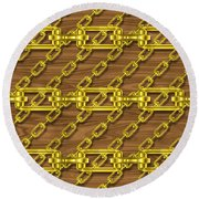 Iron Chains With Wood Seamless Texture Round Beach Towel