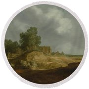 Landscape With A Cottage Round Beach Towel