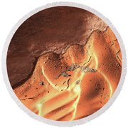 Light And Shadow In Mud Round Beach Towel