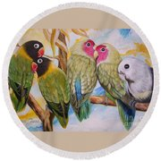 Flygende Lammet     Productions          5 Lovebirds Sitting On A Twig Round Beach Towel