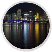 Miami Downtown Skyline Round Beach Towel