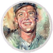 Mickey Mantle Portrait Round Beach Towel