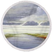 Misty Landscape Round Beach Towel
