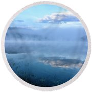 Misty Spring Morning  Round Beach Towel