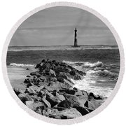 Morris Island Lighthouse Round Beach Towel