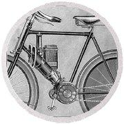 Motorcycle, 1895 Round Beach Towel