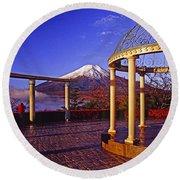 Mount Fuji In Autumn Round Beach Towel