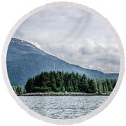 Mountain Range Scenes In June Around Juneau Alaska Round Beach Towel