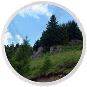Natural Scenery With Mountains And Cloudy Sky. Round Beach Towel
