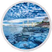 Newport Bridge Connecting Newport And Jamestown At Sunrise Round Beach Towel