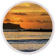Orange Sunrise Seascape Round Beach Towel