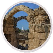 Paphos Archaeological Park - Cyprus Round Beach Towel