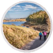 Pendle Hill Walk, North Yorkshire, Uk Round Beach Towel